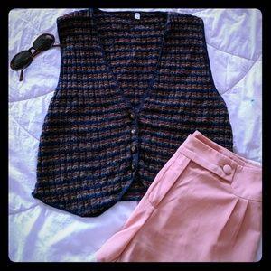Vintage mulicolor stripe knit vest